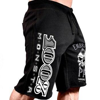 Men New Cotton Shorts Men's loose Short Trousers Fitness Bodybuilding Jogger Mens Brand durable Sweatpants Fitness Workout Short 1