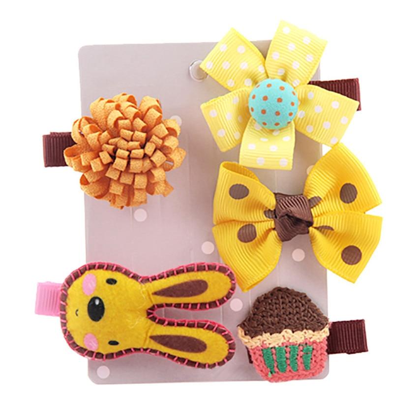 2018 5Pcs Kids Baby Girl cute Sweet Cartoon animal motifs Hair Clip Set Headdress Hair Style gifts