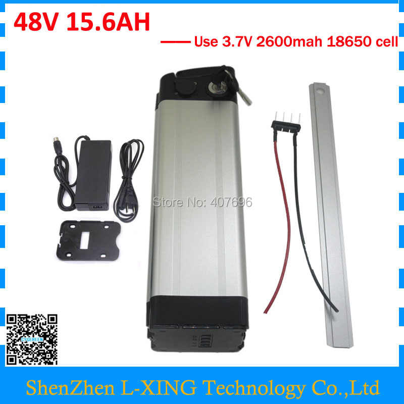 Free customs duty 750W 48V 15.6AH battery 48 V 16AH lithium ion Battery 48V Silver fish battery with 20A BMS 54.6V 2A Charger