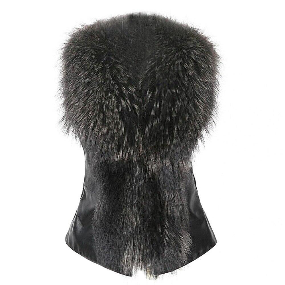 Fourrure Plus D'hiver Gilet La Noir Coupe Femelle Pop Survêtement Taille kaki Femmes Fausse De Chaud Vente Noir Col Nice Mode Casual Gilets Pu vent IIArq