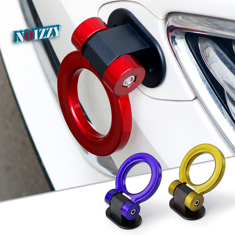 Noizzy 2018 New Fake Trailer Hook Tow Bar Ring Decoration 3D Fun Car Stickers Truck Emblem Racing Vehicles Creative Car Styling