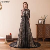 Favordear 2018 A Line Black Lace Long Mother Dress Plus Size Half Sleeve Formal Mother Of The Bride Dress Hot Sale