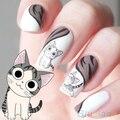 10 PCS Nail Art decalques de água transfer etiqueta feliz gato bonito 2IJ1