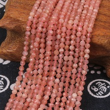 2mm 3mm Natural Round Faceted Orange Moonstone Stone Gemstone Loose Beads DIY Accessories for Jewelry Necklace Bracelet Making