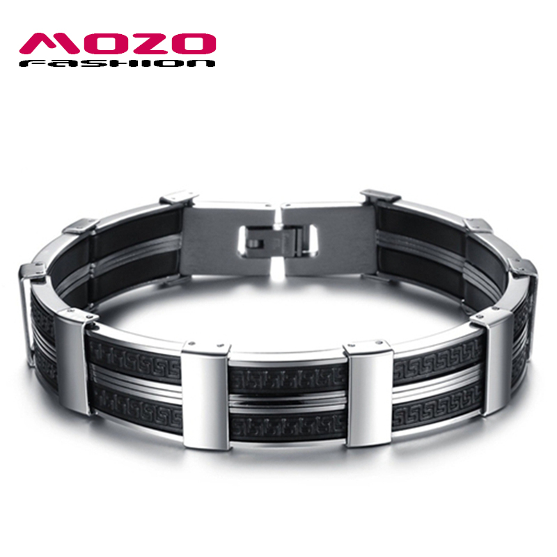 Bright Mozo Fashion Trendy Mens Jewelry Black Silicone Wristband Stainless Steel Hand Chain Personality Men Bracelets Bangles Mph823 Jewelry & Accessories