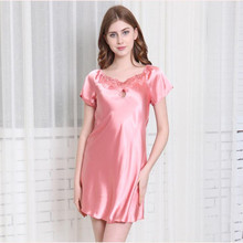 YAUAMDB size S-4XL women nightgown spring summer silk ladies short Sleeve  night dress eda3a0532ccf