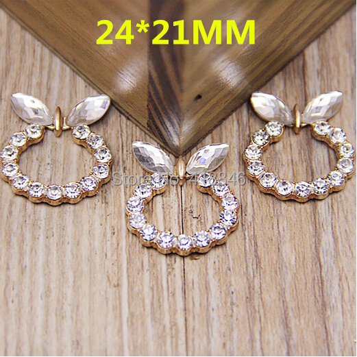 Free Shipping Newest 50pcs Lovely Animal Rabbit Head Shape Rhinestone Crystal Button Charms Metal Alloy Gold Tone Pated Charm
