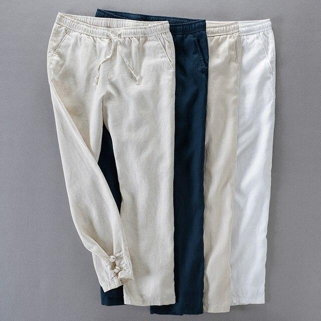 bd2a9e4c82ab Испанские и бразильские стильные длинные льняные брюки мужские свободные  повседневные брюки мужские эластичные широкие брюки мужские