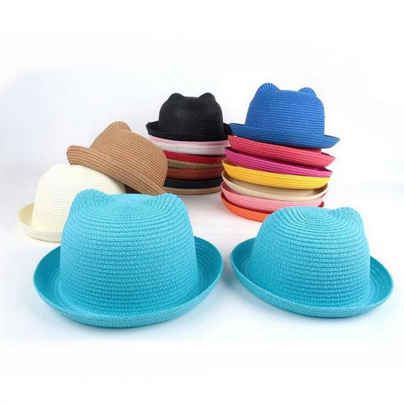 Straw Hats Kids Character Ear Decoration Summer Cap Baby Sun Hat For Girl Boys Bucket Cap For Children Hat Beach Panama Caps