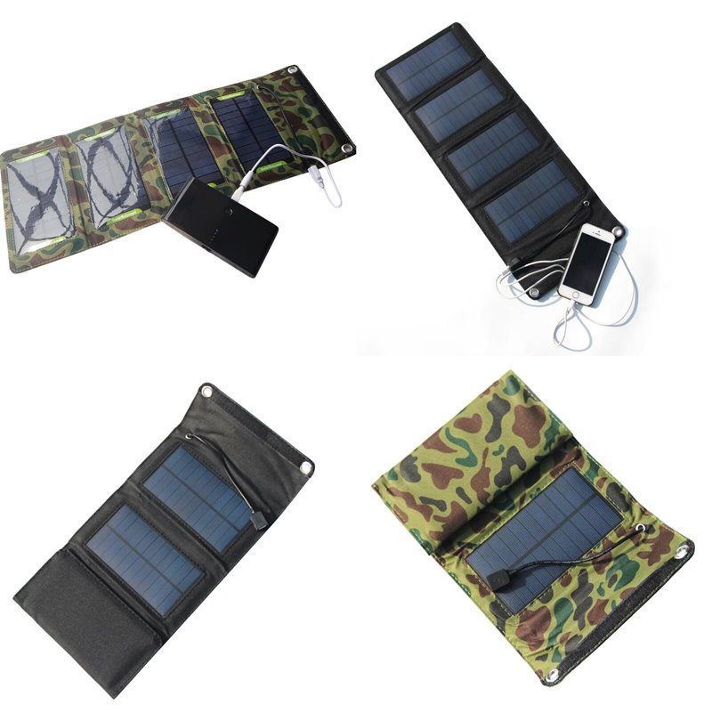 7W Solar Charger Solar Panel Camping Travel Portable Outdoor Foldable For Cellphone Mobile Tablet Kits USB Battery Charging Kits 21w foldable portable solar panel charger battery solar mobile phone cellphone charger for phones tablets laptops