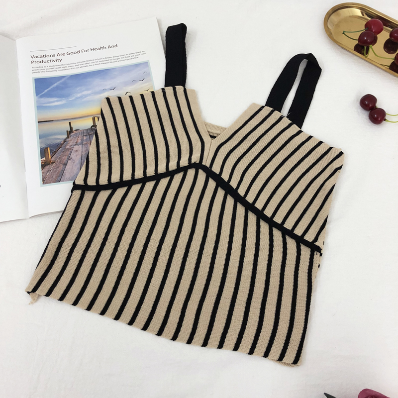 Crop Top Fashion Women Tank Tops Sexy Knit Stripe Camisole Female V Neck Sleeveless Vest Stretch Femme Camis 2019 Summer Shirt in Camis from Women 39 s Clothing