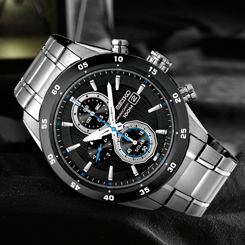 100% Original SEIKO Solar Watch Fashion Trend Business Timing Quartz Men's Watch SSC531J1-in Quartz Watches from Watches    1