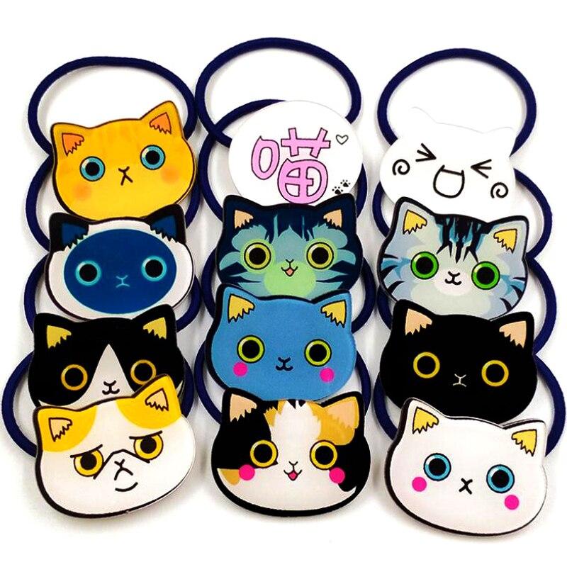 10pcs/Lot Cute Emoji Cartoon Cat Rubber Band Girls Hair Accessories Acrylic Animal Hair Band   Headwear   Children Student Headbands