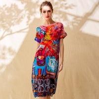 100% Silk Dress Women Plus Sizes Printed O Neck Button Short Batwing Sleeves Dress Grade Fabric Simple Design New Fashion 2018
