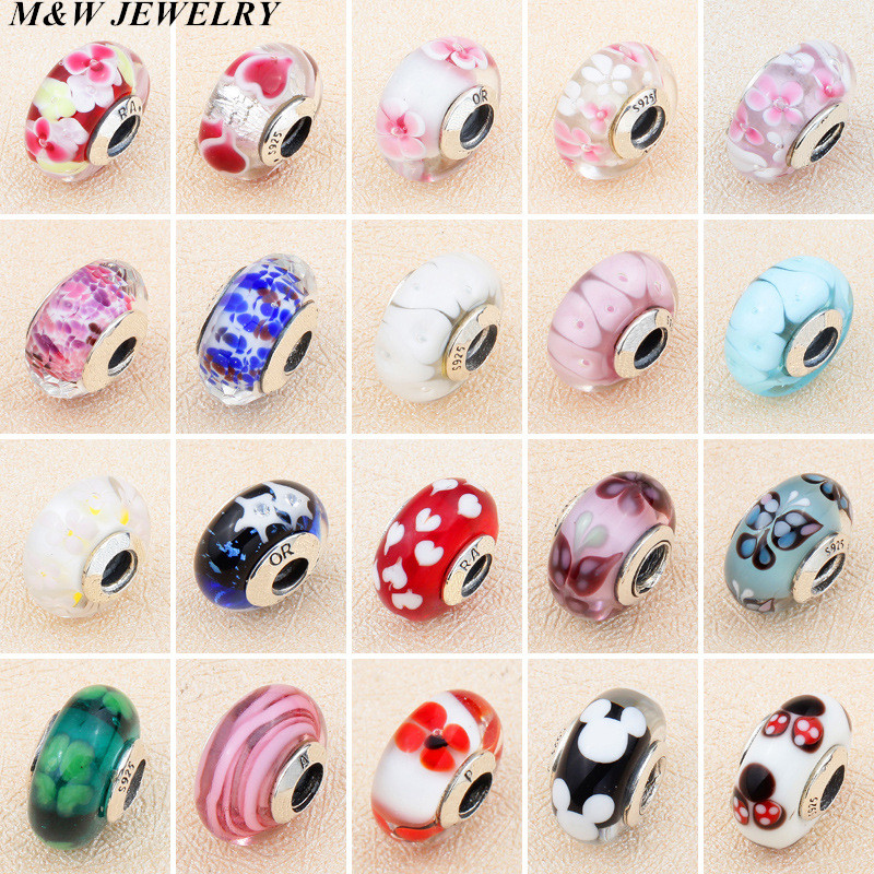 M&W JEWELRY New Style 100% 925 Sterling Silver AAA grade / first class goods Glass Beads Fits For Charm Bracelet DIY Making ...