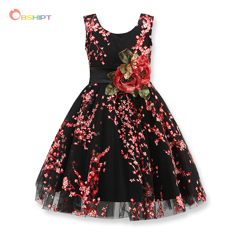 OBSHIPT Kids Girls Flower Dress Baby Girl Birthday Party Dresses Children Fancy Princess Ball Gown Dress Kids Clothes baby girls white dresses for wedding and party wear girl princess dress kids lace clothes children costume age 3 4 5 6 7 8 9 10