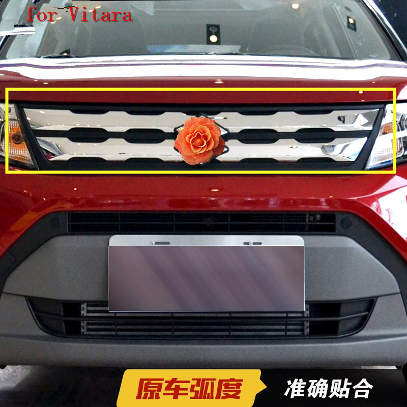 Car cover For Suzuki Vitara 2015 2016 2017 2018 ABS Chrome Front Grille Around Trim Racing Grills Trim Car styling accessories|Chromium Styling| |  - title=