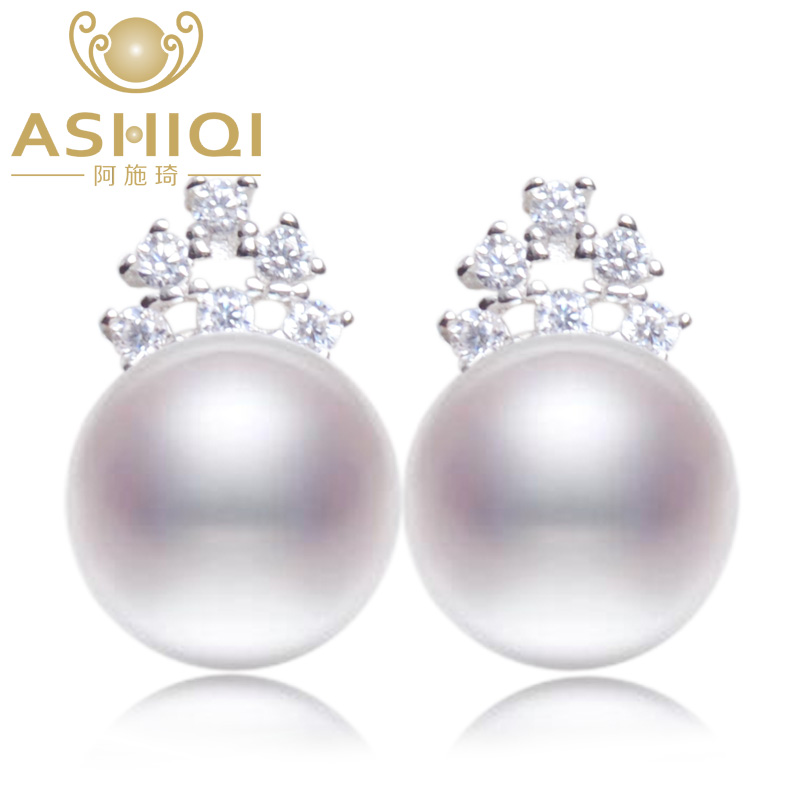 ASHIQI 925 Sterling silver earrings Classic freshwater pearl stud earrings for women natural pearl jewelry pair of cute faux pearl decorated diamante x shaped stud earrings for women