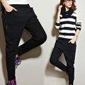 M-5XL Плюс размер Женщин весна бархат шаровары Упругие талии брюки Здоровья леди повседневная длинные брюки 022004
