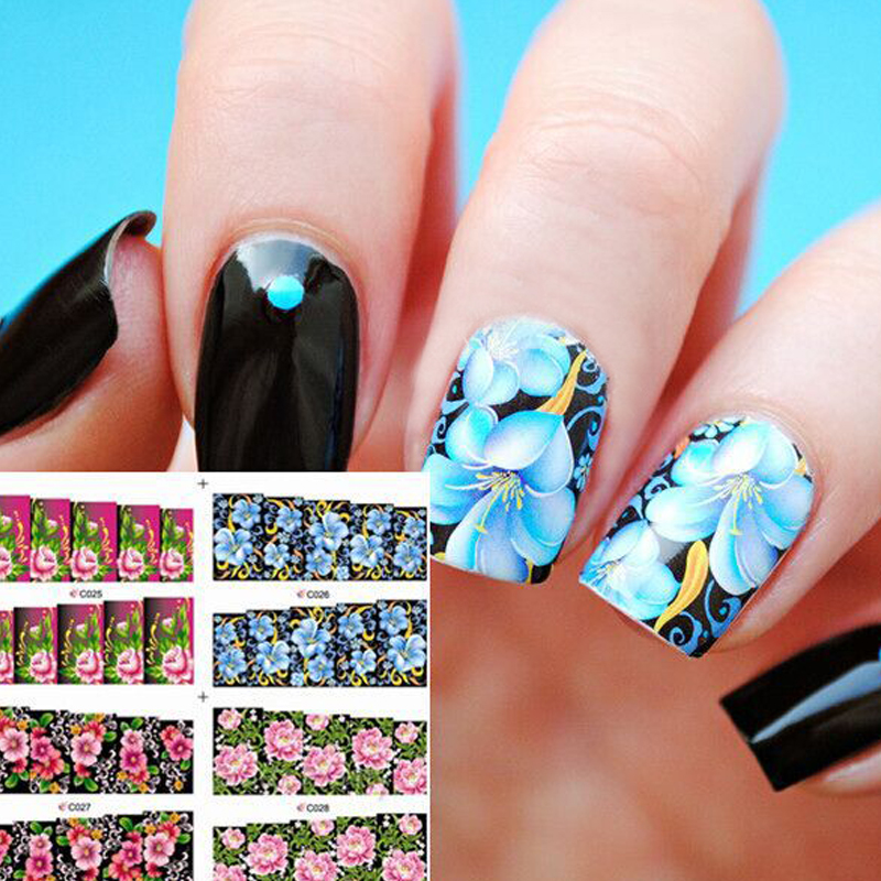 4 Patterns Gorgeous Colored Floral Nail Water Decals Flower Patterned Transfers Sticker Manicure Nail Art Decoration dunlop winter maxx wm01 185 65 r14 86t