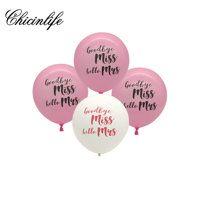 chicinlife 10pcs goodbye miss hello mrs balloons miss to mrs bachelorette party bridal shower wedding decoration