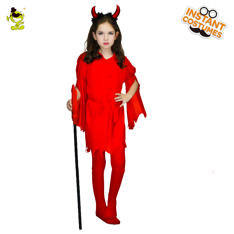 Girls Beautiful Devil Ghost Costumes Kids Evil Demon Role-play Fancy Dress Halloween Party Pretty Monster Cosplay Sets