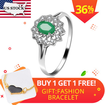 e32b3b0b9be9 STOCK Uloveido mujeres Esmeralda anillo de piedras preciosas de Plata de  Ley 925 anillo de piedra verde de las mujeres prometo boda cóctel anillo  FJ268