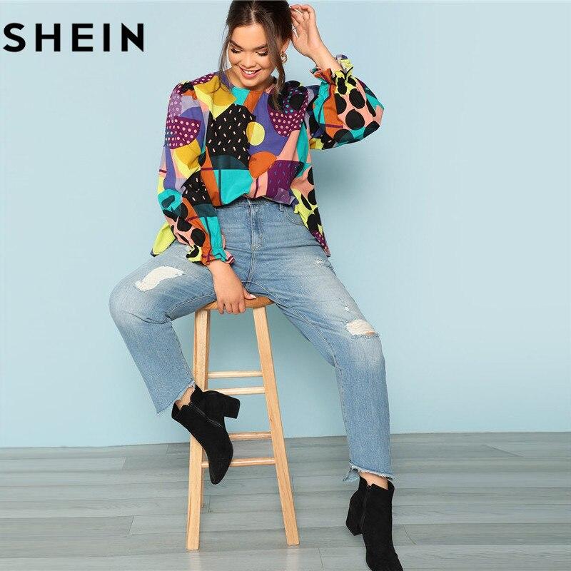 SHEIN Cotton Linen Multicolor Geometric Print Preppy Plus Size Women Blouses 2018 Fashion Long Raglan Sleeve Ruffle Cuff Top  4