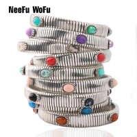 Bracelet à chaîne de printemps NeeFuWoFu Bracelets en cuivre naturel pierre bohême de madère Pulseira Estrela de Cinco Perles élastiques
