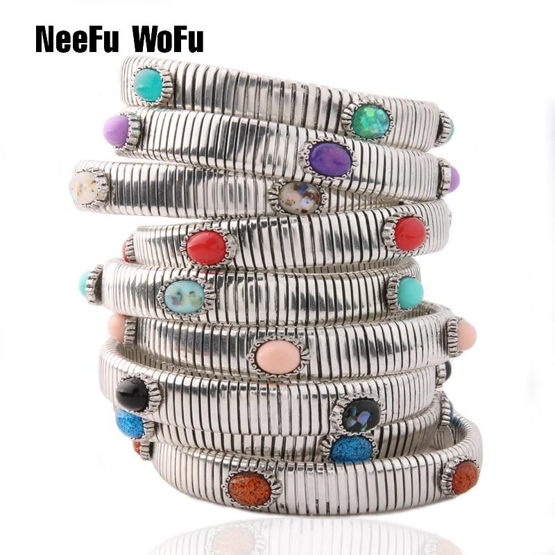 NeeFuWoFu Primavera cadeia Pulseira de Cobre Pulseira pedra Natural Pulseiras Bohemia de Madera Estrela de Cinco Elástico Perles