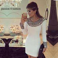 2017 New Autumn And Winter Long Sleeve Hand Beaded Dress Slim Bodycon Dress White Color Package