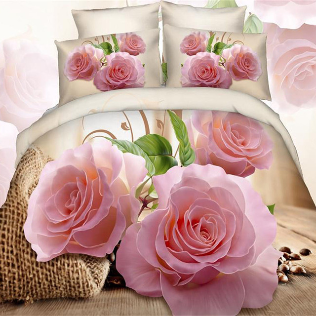 Pink Flower 3d Rose Girls Bedding Set Queen Size Cotton Fabric Bed Sheets  Duvet Cover Pillowcase