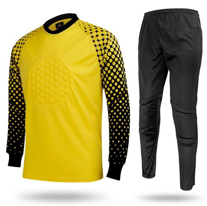 2016 Hot Sale Long Sleeve Goalkeeper Shirts Pants Uniforms Breathable Boys Soccer Kids Goalkeeper sport training suit