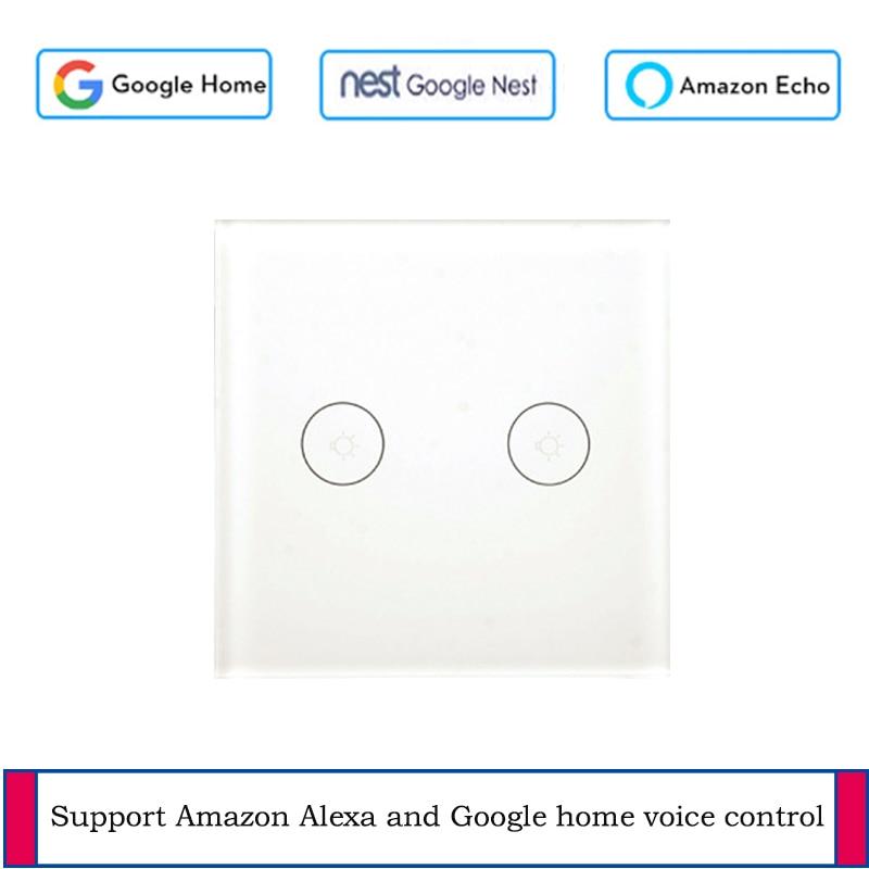 EU/UK standard 2 gang WiFi mur tactile interrupteur À Distance wireless interrupteur tuya vie intelligente app contrôle mur interrupteur travail avec Alexa