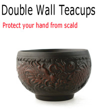 6pcs Double-wall Dragon Teacup Purple Clay Ceramic Tea Cup Set 65ml Cups Teacups Kung Fu High Quality Porcelain Collection Gift