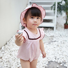 Tiny Cottons 2018 Clothes For Female newborns Hat Jumpsuit 2pcs/Set Girls Baby Clothing Overall Short Sleeves Bodie
