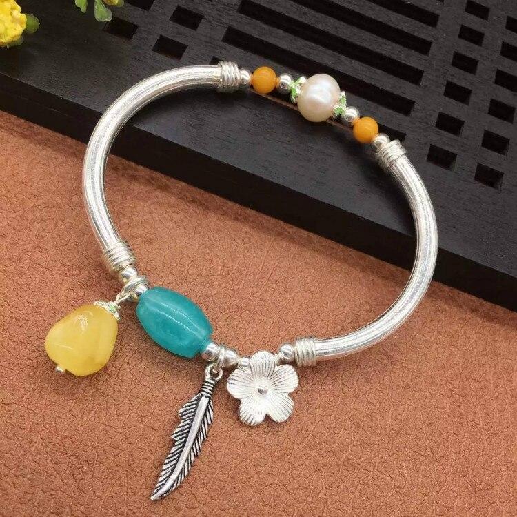 Bricolage Original 925 argent pur fait à la main argent naturel avec cire d'abeille élégant généreux bracelet