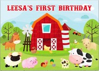 Custom Animal Red Barn Door Tree Cow Horse Pig Sheep First Birthday backdrops Computer print party background