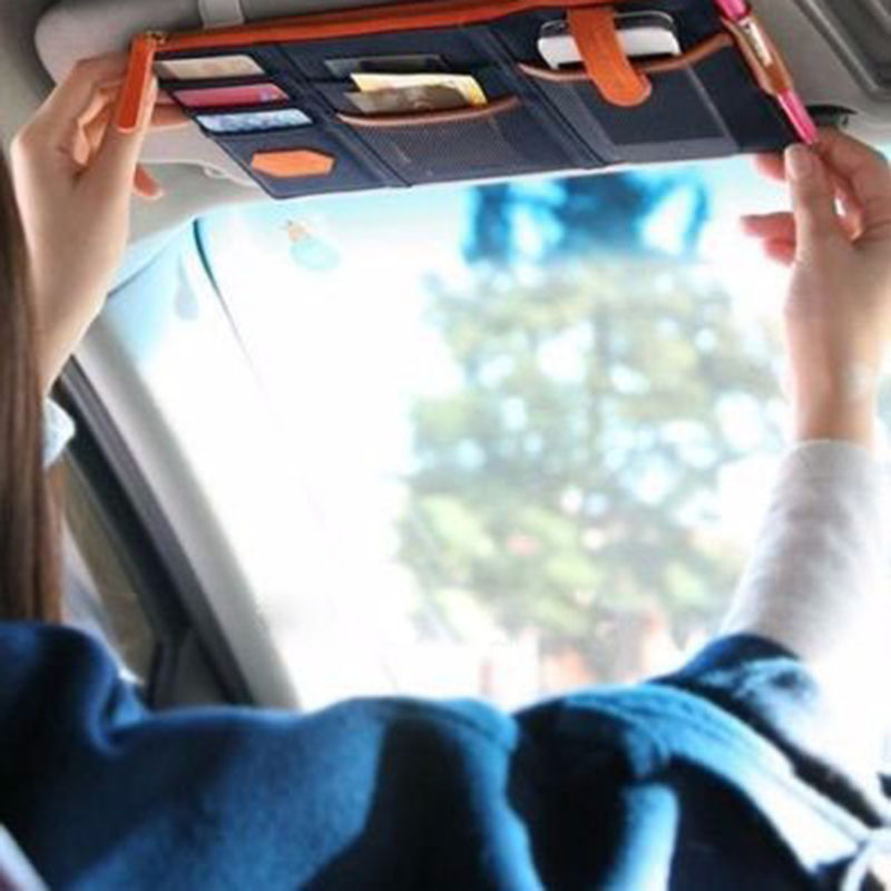 New Arrival Multi Function Automobile Interior Accessories Auto Sunshade Cover Car Sun Visor CD Holder Phone Hanging Bag