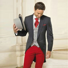 Italian Grey Tailcoat Long Jacket Morning Party Men Suits Red Pants Slim Fit Costume Homme 3 Pieces Terno Masculino Groom Tuxedo