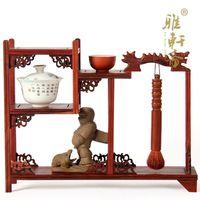 Ya Xuanzhai red mahogany carved ornaments shelf teapot base frame table antique mahogany base