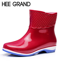 HEE GRAND Rubber Boots For Women Scale Films Pattern Woman Ankle Rainboots Waterproof Flat Heel Rainning Shoes For Women XWX4400