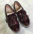 2016 новая коллекция весна bebe обувь ПУ дети лакированные туфли девушки бахромой обувь малыша моды квартиры малыша черный кисточкой сандалии