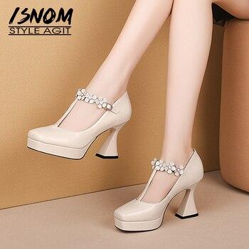 ISNOM T Strap Pumps Women Platform Leather Pumps Appliques Strange Style High Heels Shoes Female Square Toe Party Shoes Autumn