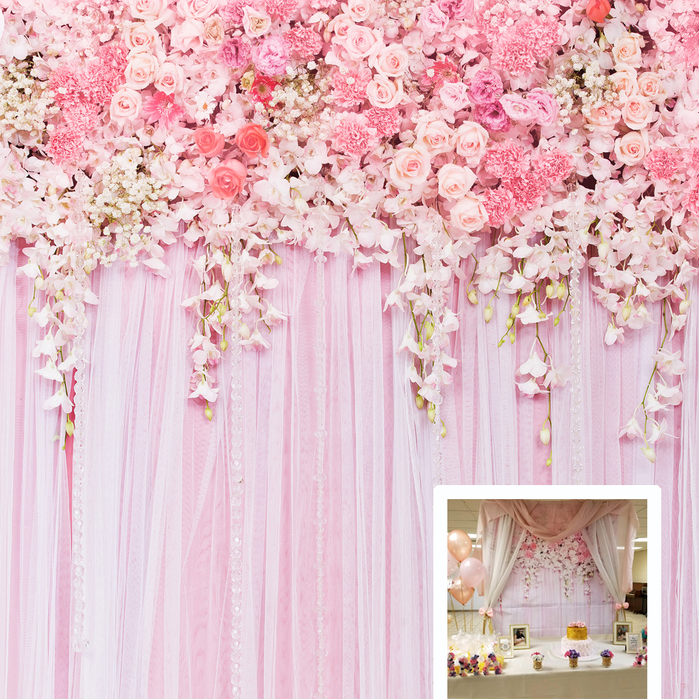 Wedding Backdrop Pink Flowers Bridal Shower Birthday Photography