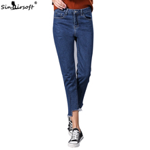Irregular Hem Stretch Denim Jeans Women Skinny Tassel High Waist Pants Jeans Female Ankle-Length Pencil Pants Blue Jeans Pants