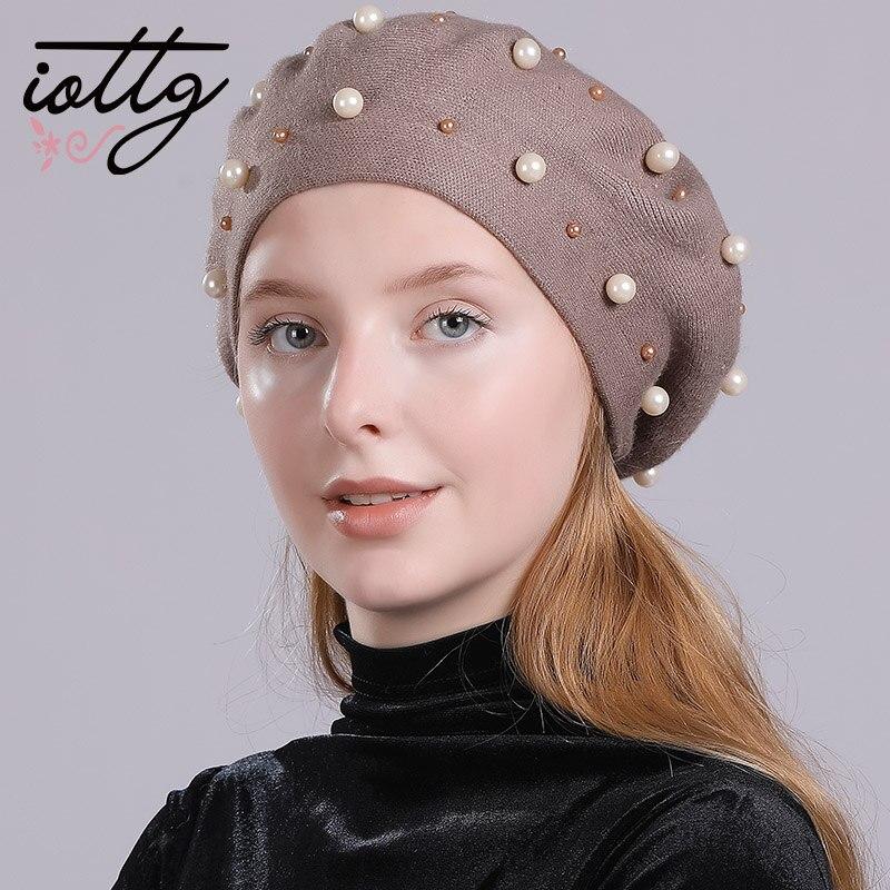 IOTTG High Quality Women Winter Hats Pearl Beads Knitted Hat Fashion Brand Cap Casual Warm Hat Female   Skullies     Beanies   Bonnet