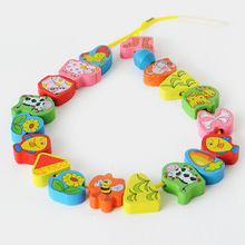 Free shipping Wooden Bead baby educational toys, cartoon animals matching pearl game, Children's Jewelery Making Utilities