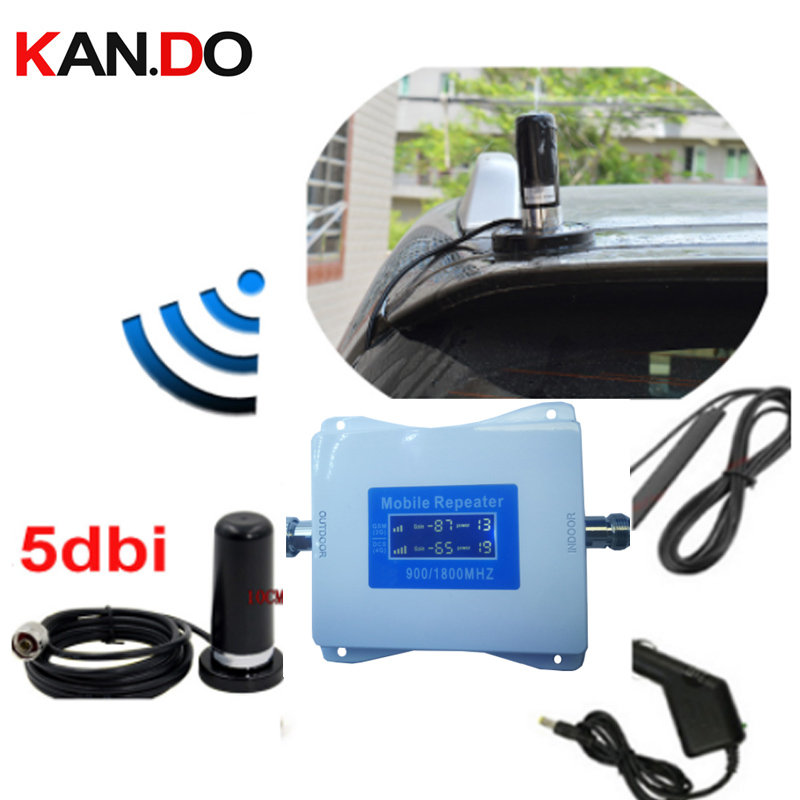 For Car 2G+4G Repeater With Cable Antenna 22 Dbm 65dbi LCD Display Dual Bands GSM 4g Booster Repeater DCS 900 1800mhz 4g Booster