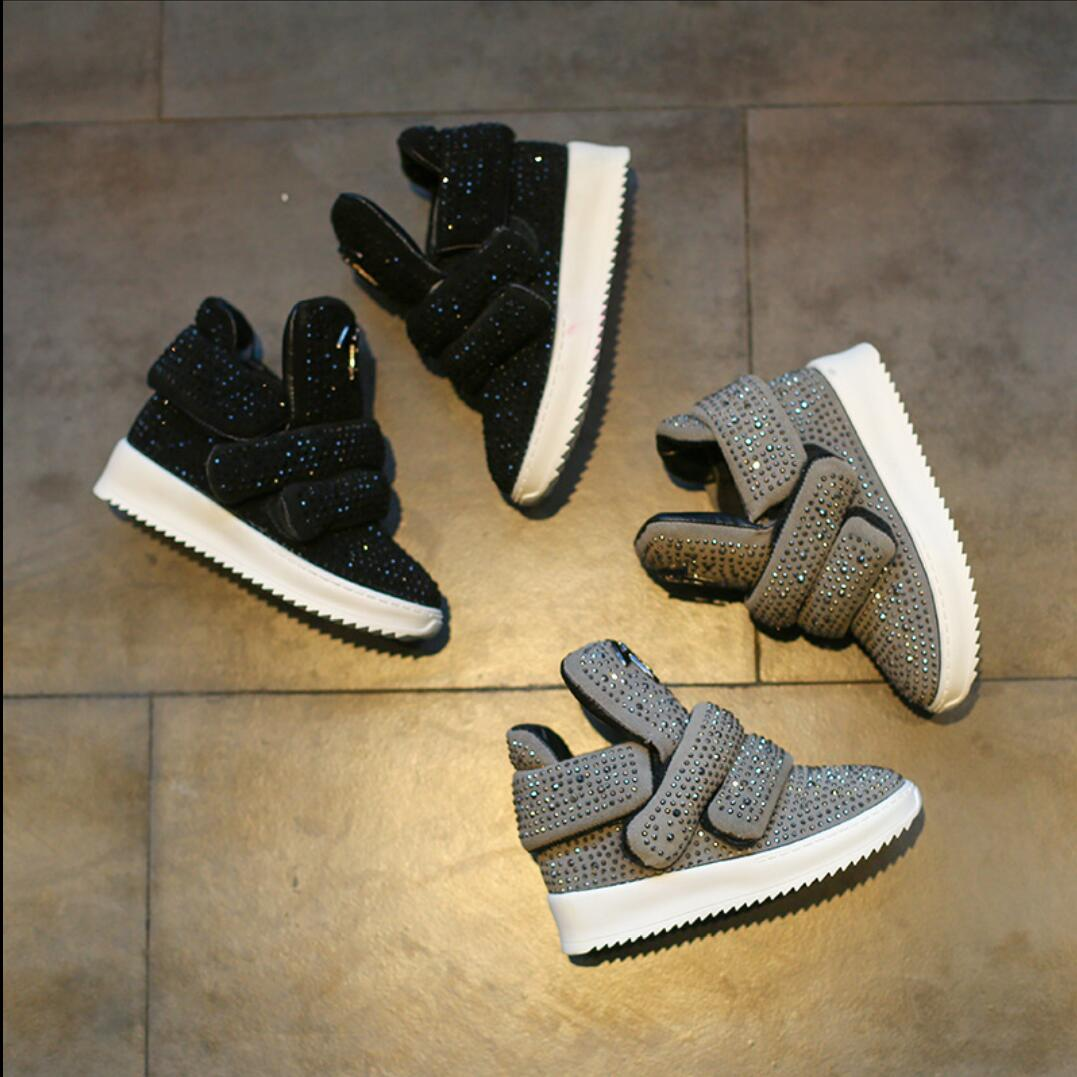 Children Sneakers 2019 Autumn Winter Children's Shoes Leather Boots Sports Rhinestone Girls Boys Fashion Sports Warm Boots